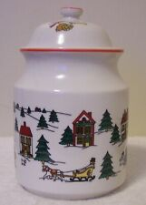 "Jamestown China The Joy Of Christmas Candy Jar 8.5"" High W/Out Lid"