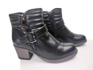 Patrizia by spring step Zipper  Womens Ankle Boots Size 7 Black Syntetic Leather