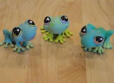 Littlest Pet Shop 3 Green FROGS ~ Green Purple & Pink Eyes