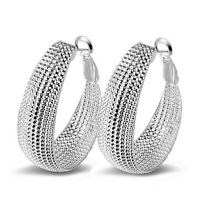 Fashion Women Elegant Wedding 925 Silver Plated Ear Stud Hoop Earrings Jewelry