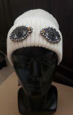BCBG Max Azria NEW White One Size Eye See You Embellished Knit Beanie $58 #359