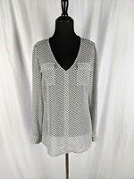 Candie's Sz M Women's White Pattern V-neck Roll Tab Sleeve Sheer Blouse