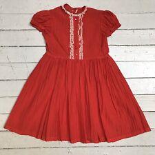 Vtg 1950s Nylon Seersucker Rot Kinder Mädchen Partykleid Langer Rock