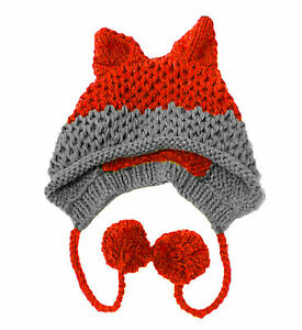 Fox Ears Winter Beanie Warm Xmas Gift Handmade Caps Patchwork Knitted Hats