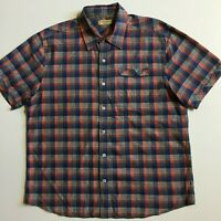True Grit Dry Goods Mens L Red Blue Check Short Sleeve Button Front Shirt Cotton