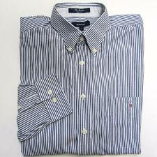 GANT Mens SHIRT Size L Cotton Long Sleeve Blue BANKER Striped Oxford Classic