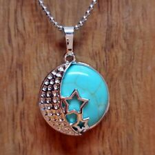 Turquoise Stone Fashion Pendant Reiki Chakra Healing Necklace Moon and Stars