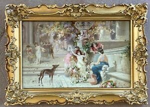 Small 19th c. French Oil of a Roman Floralia-Illegible Sig-NR