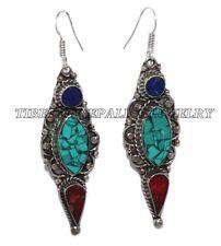 Turquoise Earring Tribal Earring Tibet Earring Coral Earring Silver Earring Boho