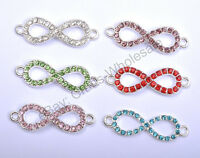 """10pcs Charms Crystal Rhinestone Silver & Pave """"8"""" Connectors Findings 33MM"""