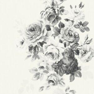 Tea Rose Wallpaper ME1534 botanical black off-white SureStrip prepasted