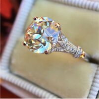 Luxurious Round White Sapphire Wedding Ring 925 Silver Anniversary Promise Gifts