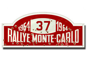 "1964 RALLYE MONTE-CARLO METAL SIGN,CLASSIC RALLY NUMBER 37,PADDY HOPKIRK.16""X7""."