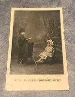 rppc postcard The Amateur Photographer Boy And Little Girl