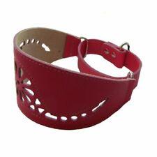 Collar piel perros Galgo fucsia regulable motivo floral S-M cuello 35-45 cm
