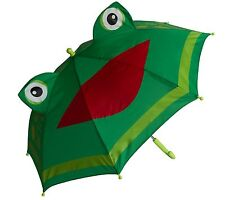 New Shed Rain Green  FROG Child Stick Umbrella Black w/ Cat Ears No Pinch gift