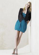 Zara Green Turquoise Pure Silk Bandeau Grecian Mini Dress L Large 12 8 40 -