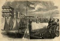 Battery park promenade Charleston Fort Sumter 1861 Harper's Civil War Print