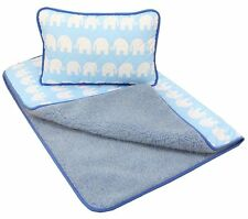 OFERTA Bebé Azul Merino Wool & Algodón Cuna Edredón x 100 140 cm + almohada 40
