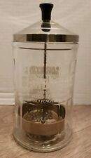 VINTAGE King Research Inc. Barbicide Disinfecting Clear Glass Jar Heavy Duty