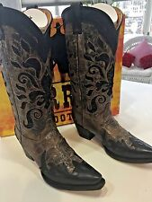 NEW CORRAL WESTERN BOOTS SZ 8.5 BROWN FLEU DE LIS SEQUENCE INLAY POINTED TOE