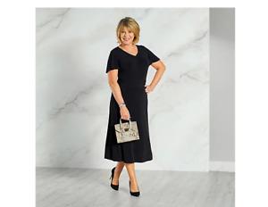 Ruth Langsford Ruched Detail Midi Dress Petite Black Size 16 BNWT