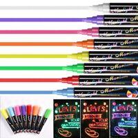 8 Colours 6mm Dual Nib Neon Liquid Fluorescent LED Chalk Pen Marker Dry Wipe Pen
