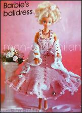 Knitting/Crochet Pattern BARBIE DOLLS CLOTHES - BALL PROM EVE DRESS SCARF PANTS