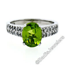14K White Gold 2.47ctw Oval Peridot & Dual Row Pave Diamond Solitaire Ring