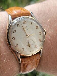 Vintage Omega Arabic Numbers Gold Plated Watch 1954