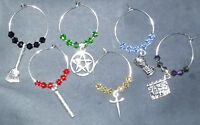 Wine Glass Charms : 6 pcs Crystal Drink Markers Pagan Wicca Occult Tarot New Age