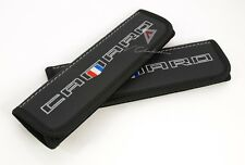 Chevrolet Camaro Seat Belt Shoulder Pads Covers Black Leather Colored Embroidery