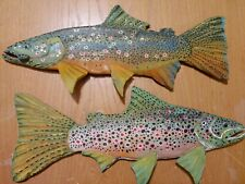 Fish Carvings for 2020, Left face and right face Buck & Hen Brown Trout (Pair)