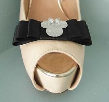 2 Quirky Black Bow Shoe clips with Silver Mini Mouse-Other ribbon colours avail.