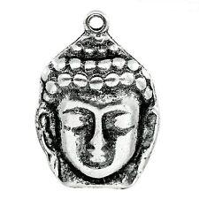 2 Tibetan Silver Large Buddha Head Pendant Charms