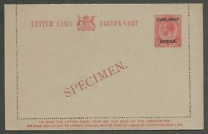 AOP South West Africa KGV King George V 1d red letter card overprinted SPECIMEN