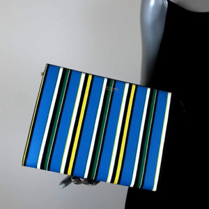 Henri Bendel Clutch Blue/Multicolor Striped Leather Bag NEW