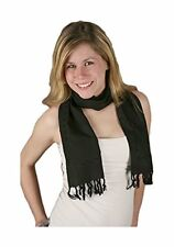 """Embroidered Rayon Scarf - Black, 10"""" X 66"""""""