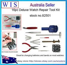 16 pc Watch Repair Kit Set & Wrist Strap Adjust Pin Tool Kit Back Remover Fix