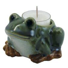 lustiger Frosch aus Keramik grün Teelichthalter 9x9x6 cm neu