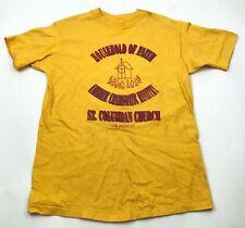 VINTAGE St Columban Church Shirt Size Large L Yellow Tee Mens HOUSEHOLD OF FAITH
