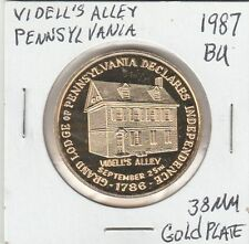 LAM(Y) Videll's Ally, PA - Grand Lodge Independence - 1987 BU - 38 MM Gold Plate