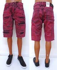 Men JORDAN CRAIG Wine Bleached Garment Dyed Rip Shredded Denim Shorts J2127S