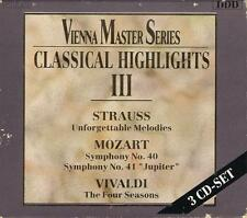 VIENNA MASTER SERIES  Strauss, Mozart, Vivaldi  Classical Highlights  3 CDs Mint