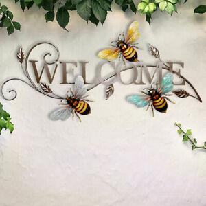 Wand Behang WELCOME Schild bunt Außen Dekoration Bienen Design Garten Haus Tür