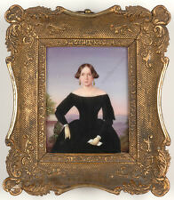 """""""Portrait of a young lady in evening landscape"""", German miniature on porcelain"""