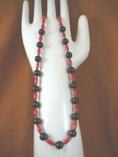 """(v30-30) 16"""" long 13x5 red Bamboo coral + black onyxbeaded Necklace JEWELRY"""