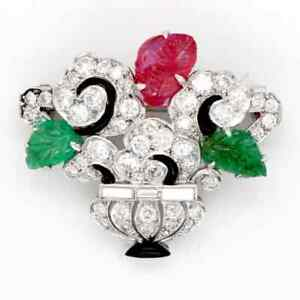 Art Deco Tutti Frutti Flower Flower Design With Green Emerald, Ruby & CZ Brooch