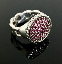 Men's Sterling Cuban Chain Designer Ring With Rubies By Sacred Angels