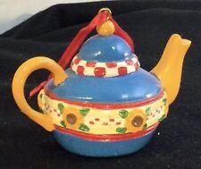 Vintage Mary Engelbreit Ink Miniature Teapot Sunflowers Christmas Tree Ornament